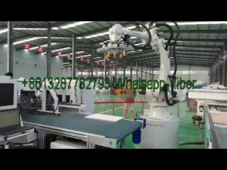 Automatic furniture CNC Router production line 5 Side Drilling with robot arm