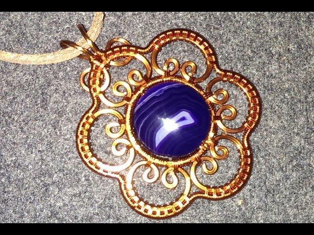 Apricot flower copper wire pendant - designer handmade jewelry 79