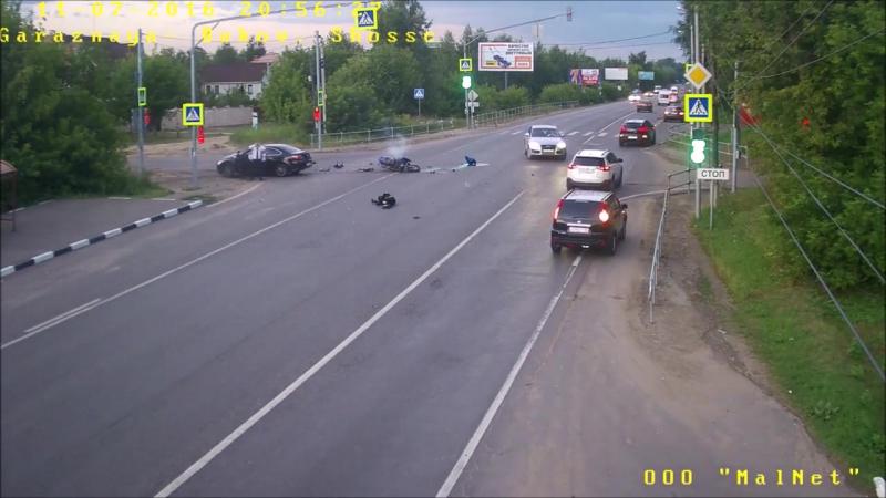 Страшная авария с участием мотоциклиста