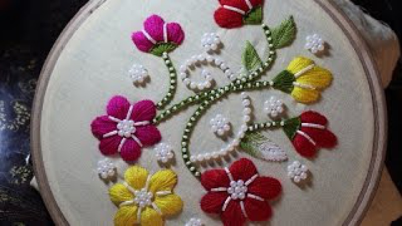 Hand Embroidery Designs | Puff bullion knot stitch | Stitch and Flower-110
