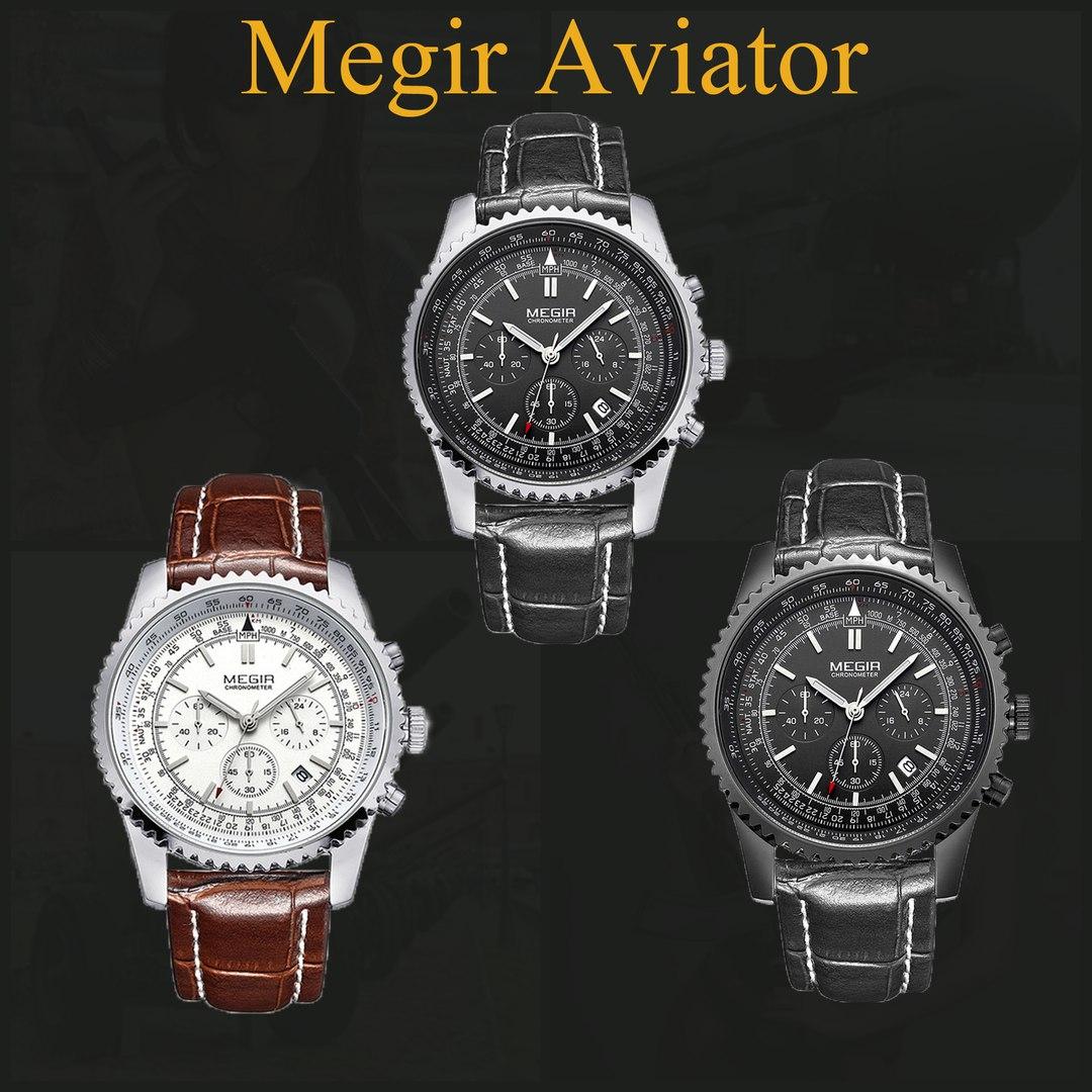 часы мужские кварцевые Мегир Авиатор хронометр