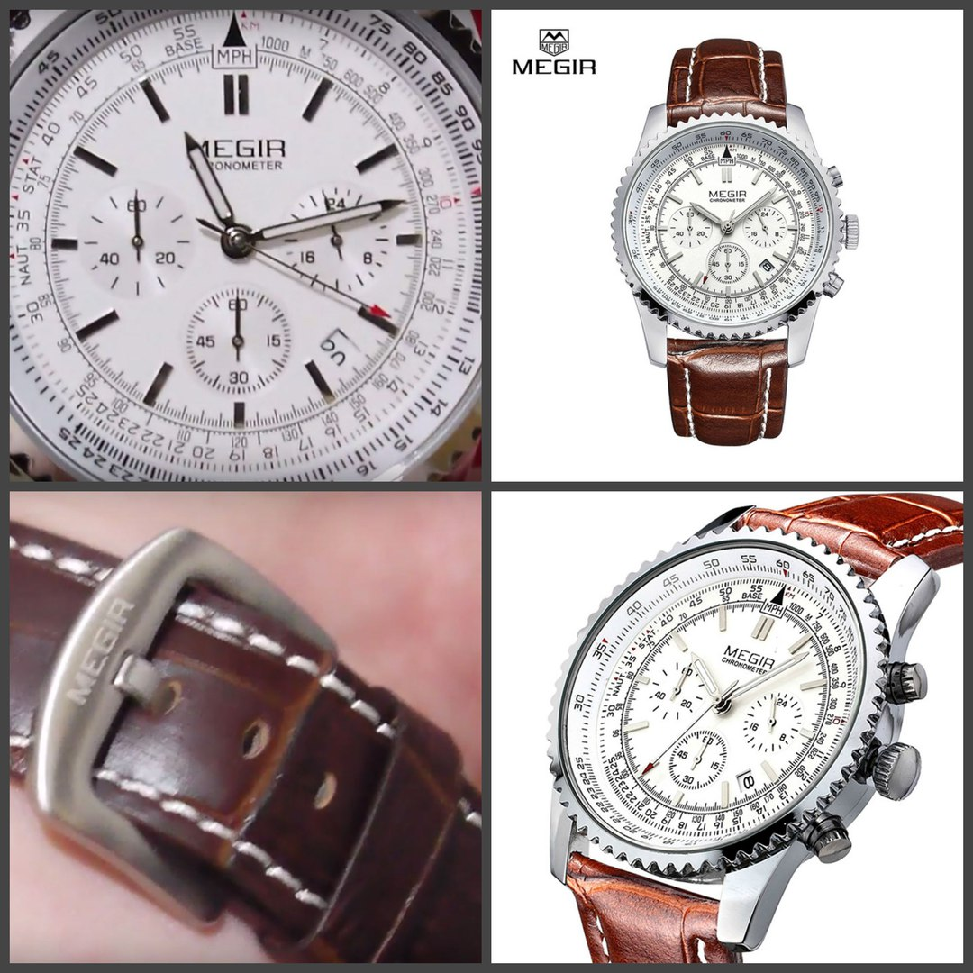 Мужские военные наручные часы - Megir Aviator Chronometer