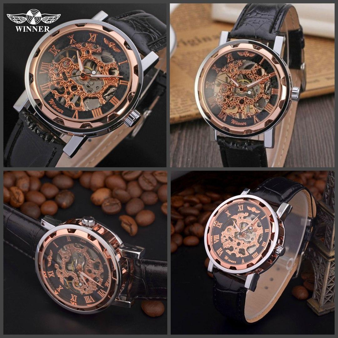 Мужские часы Winner Skeleton - Bronze купить за 2890 руб
