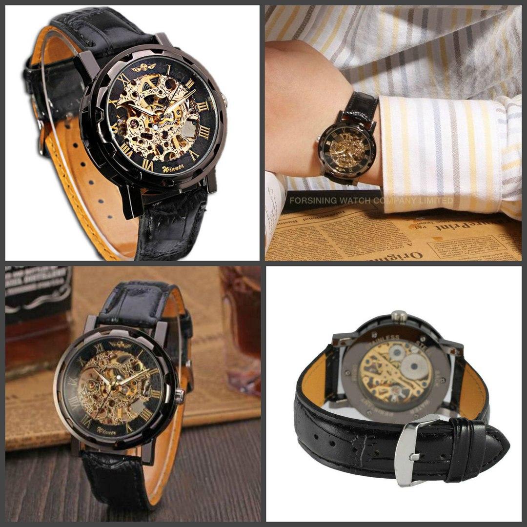 Часы Виннер Скелетон - Winner Skeleton - Black купить за 2890 руб