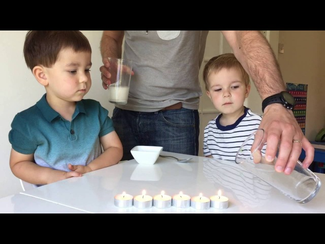 Homemade fire extinguisher science project for children