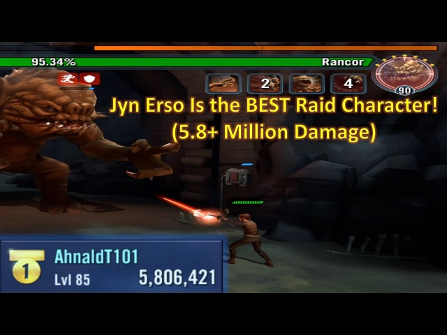 Star Wars Galaxy of Heroes: Jyn Erso is the BEST Rancor Character! (5.8 Million Damage)
