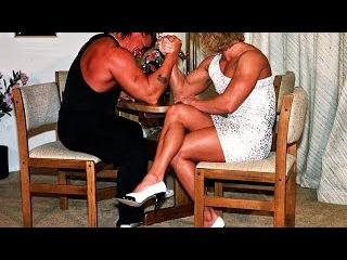 Denise Rutkowski vs Carl - Mixed Armwrestling - Sexy Female Muscle in Dress