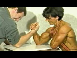 Christa Bauch vs Mike - Hard Mixed Armwrestling, Hot Female Muscles