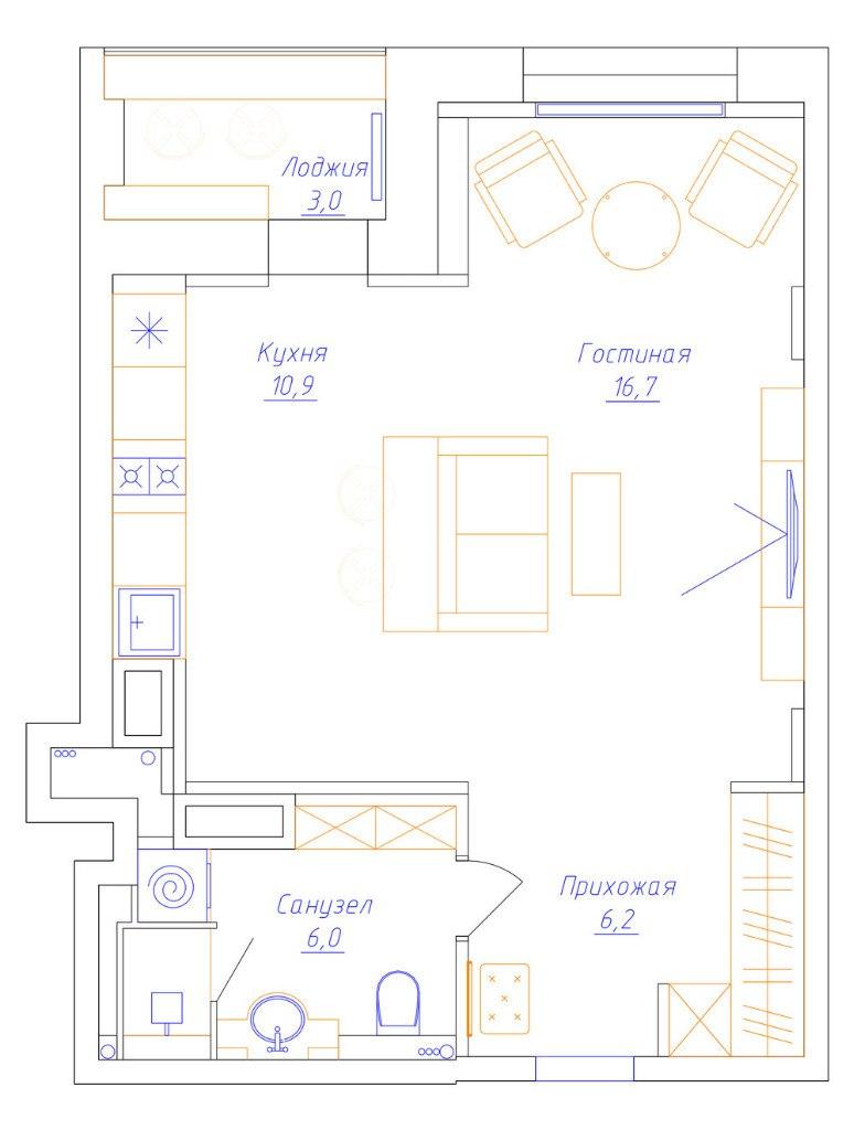 Проект квартиры 40 м в современном стиле.