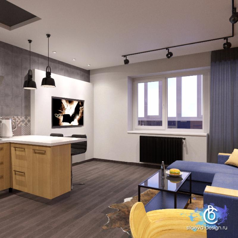 Проект квартиры 28 м под лофт.