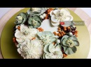 Hellebore and Winterberry Holly buttercream flower wreath cake tutorial - relaxing cake decorating