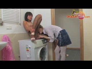 Girl fucks girlfriend on the washing machine part 1