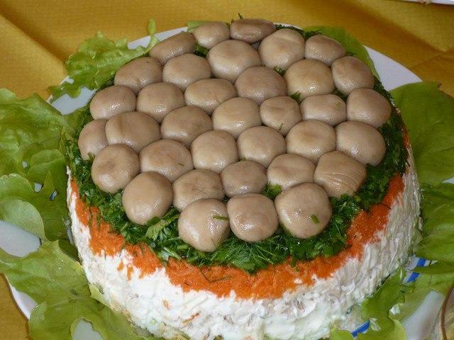 Салат лесная поляна рецепт с с шампиньонами