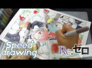 Re: Zero Rem and Ram Manga Speed Drawing. Copic Drawing