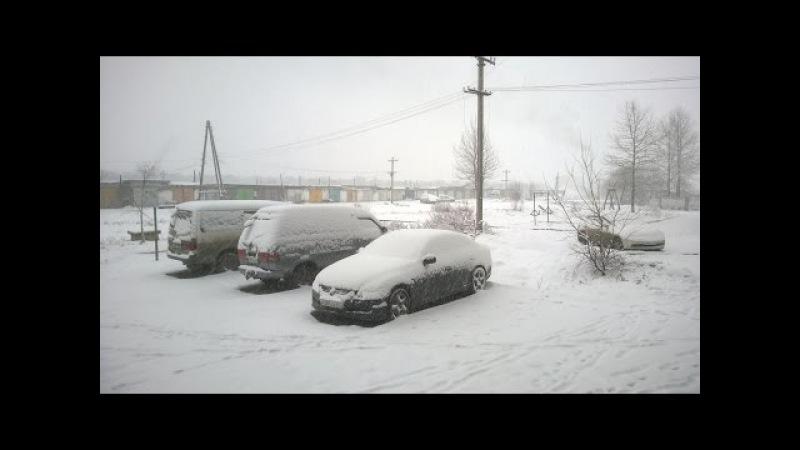Зимушка зима не хочет покидать Поронайск в апреле