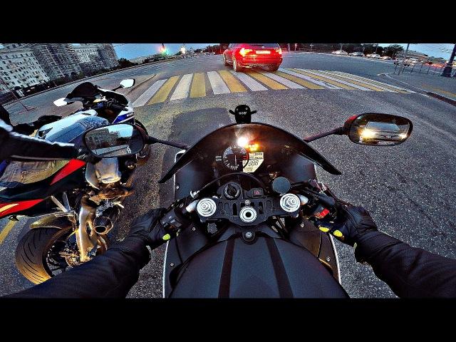 Умеренно адекватная езда на мото по набережной (без монтажа) 4К    Yamaha r1 HondaCBR1000RR