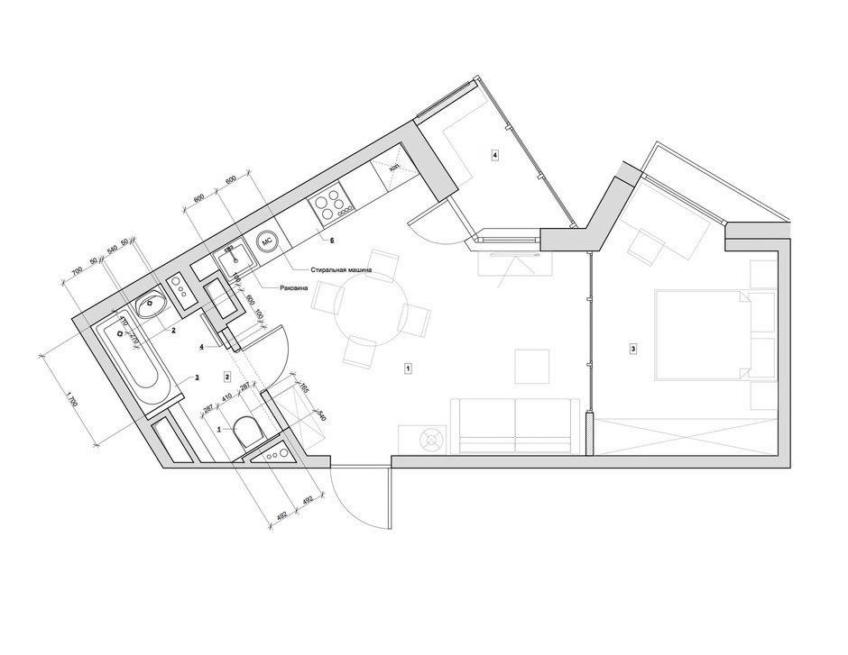 Проект квартиры 37 м.