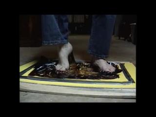 Male Striped Socks and Bare Feet Stuck in Glue