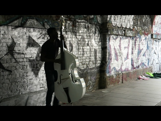 Double Bass player A.G. of Sundayboys in Shoreditch London 7 April 2017