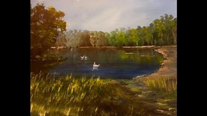 Как Акрилом рисовать деревья траву озеро Лессировка How to paint Trees Lake Grass in acrylic