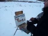 Живопись маслом, пейзаж  Художник пишет этюд зимой на природе