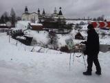 Живопись маслом  Художник на пленэре зимой в Ферапонтово