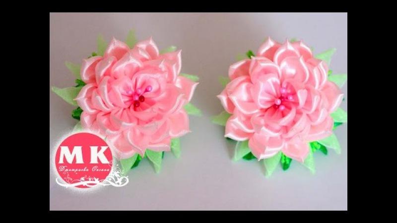 Мастер-класс Канзаши. Розы из атласных лент.Резинки для волос/DIY.Roses of satin ribbons
