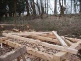 Timber frame construction build by replica of medieval axe