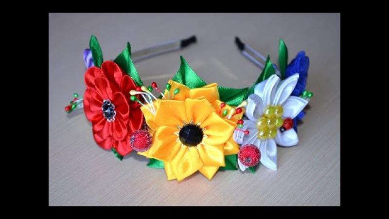 Венок из цветов ободок Мастер класс канзаши венок своими руками DIY wreath with flowers kanzashi