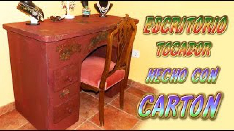Como hacer un mueble de cartón escritorio tocador con cajones tutorial manualidades recicladas