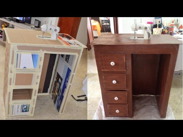 Tutorial: cómo hacer mueble de carton para escritorio o maquina de coser parte 1/2 DIY
