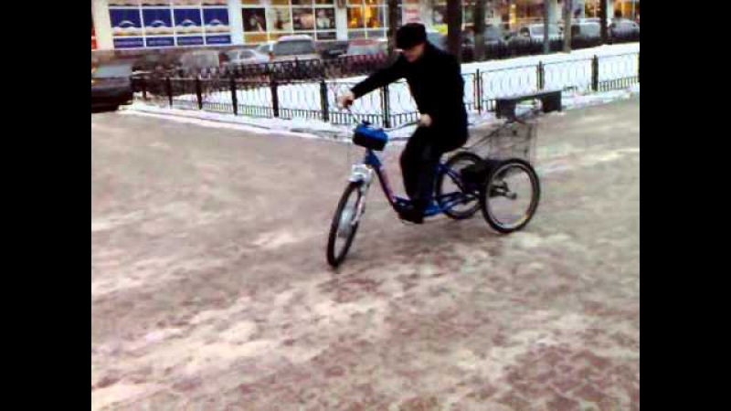 Электротрицикл на 48 вольт на льду.mp4 веломастера velomastera.ru