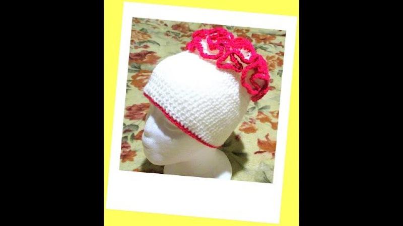 Как связать шапочку с рюшами. How to tie a hat with ruffles.