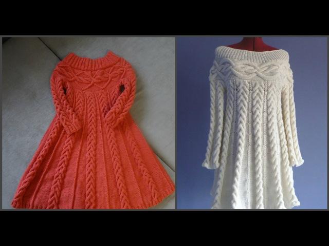 Вязаное платье спицами в стиле Шамони Часть вторая Вязание спинки и переда Сшивание