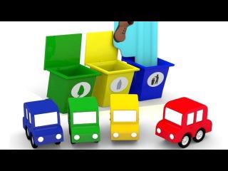 Dessin animé. 4 voitures colorées 4voitures. NETTOYAGE de la piscine. Vidéo éducative pour enfants