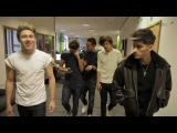 One Direction arriving at the Free Radio Office