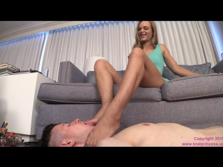 Jenny Jet - Serving Boy in Chastity Tends to Tired Feet foot worship smelling fetish smother domination trample licking