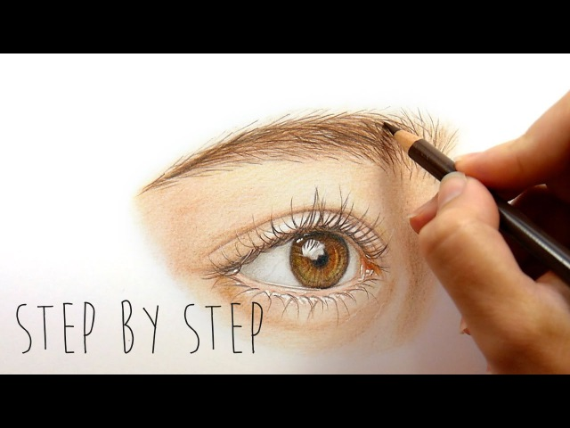 Step by Step | How to draw and color a realistic eye with colored pencils | Emmy Kalia