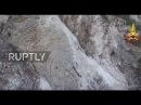 Италия Землетрясение вызывает массивный оползень вблизи Виссо, центральной Италии.