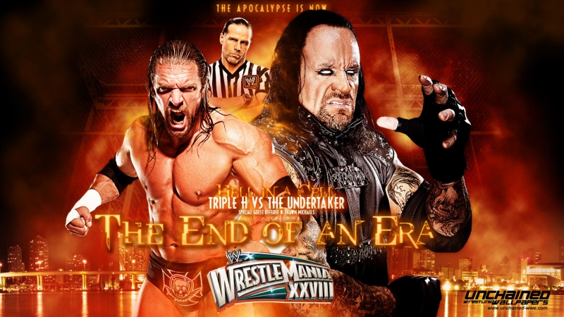 (HighLights) Triple H vs The Undertaker - Special Referee Shawn Michaels - Hell in A Cell Match - WrestleMania 28