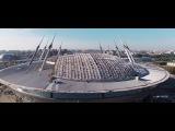 Строительство Стадиона на Крестовском Острове с Воздуха Август 2016