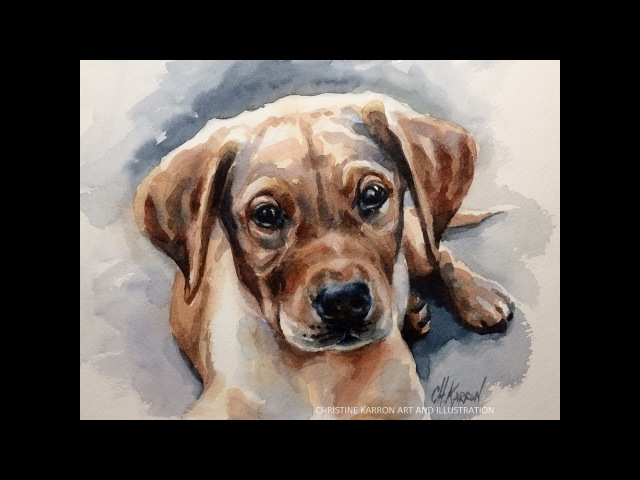 Watercolor painting puppy dog portrait demo by Ch.Karron