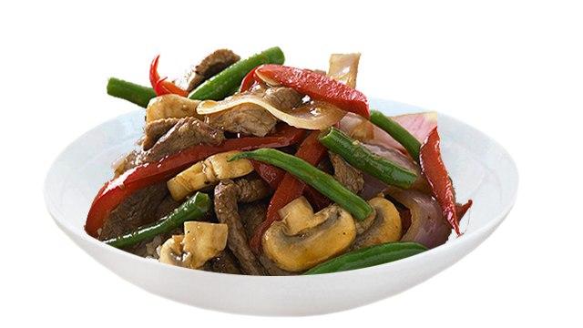 Заказать Говяжья вырезка с грибами и овощами с доставкой на дом в Серпухове, Суши-бар ТАЙХЕО