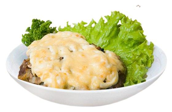 Заказать Свинина запеченная с сыром и грибами с доставкой на дом в Серпухове, Суши-бар ТАЙХЕО