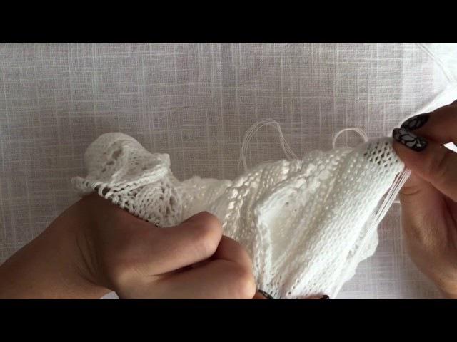 Вязание рукава с ажурным узором.