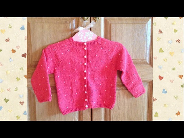 Коралловая кофточка для девочки Вязание спицами Coral blouse for girls Knitting