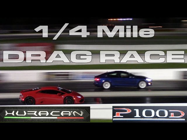 Tesla Model S P100D Ludicrous vs Lamborghini Huracan 1/4 Mile Drag Racing Battle at PBIR
