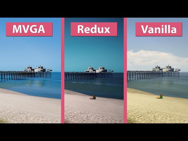 4K UHD | GTA 5 – Make Visuals Great Again vs. Redux vs. Vanilla Graphics Mod Comparison