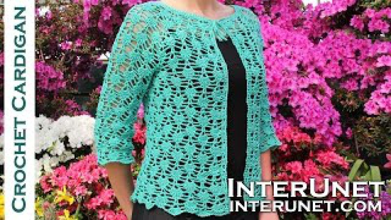 Crochet lace summer top - front tie cardigan crochet pattern. Part 1 of 2