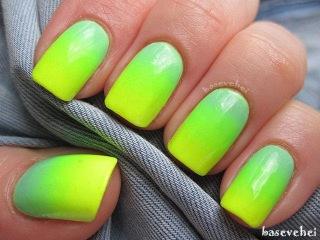Pastel mint and neon yellow - Ombre nails - Zółty neon i pastelowa mięta - Basevehei